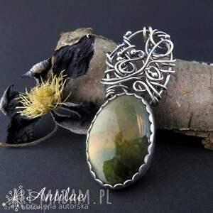 Srebrny naszyjnik z mszystym agatem, wire wrapping, oksydowane srebro
