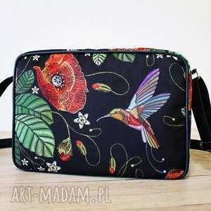 handmade pomysł na prezenty świąteczne single bag - maki i koliber