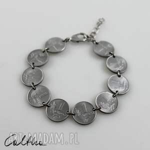 Grosiki - bransoletka, bransoleta, recykling, monety, metalowa, grosze