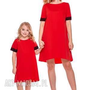 mama i córka trapezowa sukienka z koronką dla córki ld12 2 - koronka