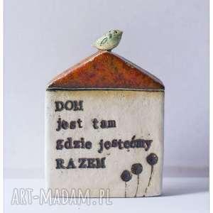 Domek z sentencją 3, ceramika, domek, ptak