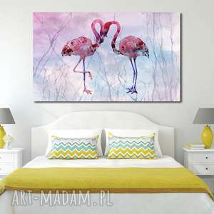 obraz xxl flaming 9 - 120x70cm na płótnie flamingi