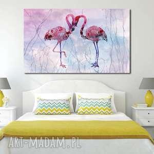 obraz xxl FLAMING 9 - 120x70cm na płótnie flamingi, falmingi, ptaki