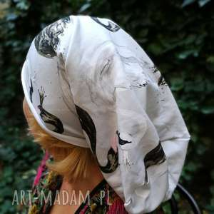 Czapka w łabędzie damska dzianina miękka handmade ptaki czapki