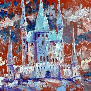 zamek, obraz, akryl, płótno, prezent