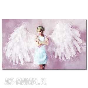 obraz xxl anioł 1 róż - 120x70cm design na płótnie, z aniołem