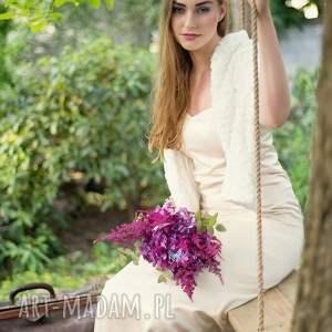 ślub szal slubny ecru w róże etola , szal, ecru, ślub, dodatek, futro, suknia