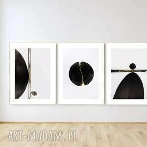 zestaw 3 obrazów 70x100 cm wykonanych ręcznie, abstrakcja