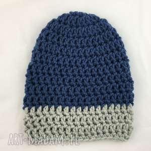 rĘcznie robiona czapka granatowa z szarym hand made - czapka, czapki