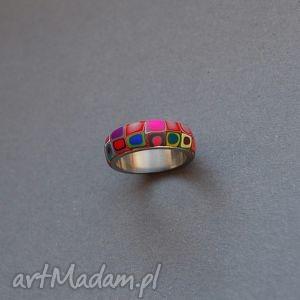 wzorzysta obrączka - obrączka, fimo, modelina, wzorzyste, kolorowe, stal