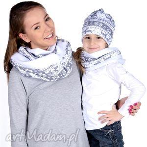 bukiet-pasji komplet czapka i komin mama i córka - prezent, szalik