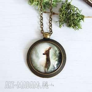 medalion, naszyjnik - sarna 3 antyczny brąz, naszyjnik, sarna, leśny