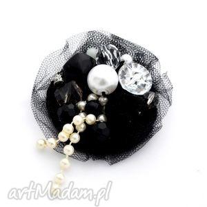 broszka black silver - broszka, naszyjnik, tiul, czarna, srebrna