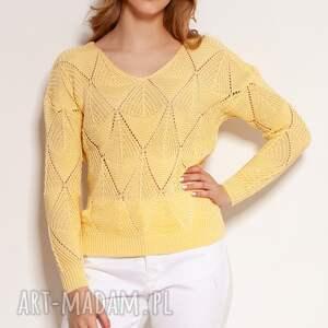 swetry ażurowa bluzka - swe144 żółty, bluzka, ażurowy sweter