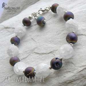 a6edf6d2e7778a 105,00 zł lodowa druza - bransoletka, agat, druza, kryształ, srebro,  elegancka