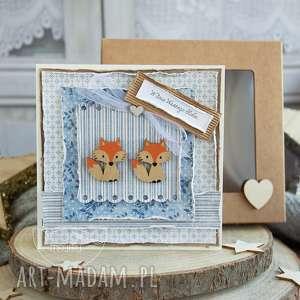ręcznie wykonane scrapbooking kartki piękna rustykalna kartka ślubna w pudełeczku