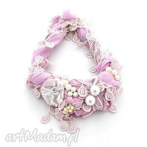 SWEET NOTHING naszyjnik handmade, naszyjnik, różowy, pudrowy, pastelowy, fioletowy