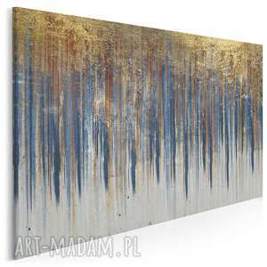 Obraz na płótnie - WZÓR NIEBIESKI ZŁOTY - 120x80 cm (90401), abstrakcja, art-deco