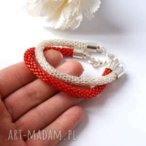 bling crystal red - zestaw błyszczących koralikowych bransoletek, beading, toho