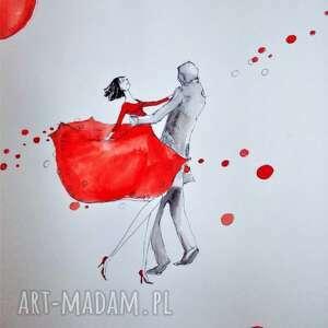 TAŃCZĄCA PARA praca akwarelą i piórkiem artystki plastyka Adriany Laube, akwarela