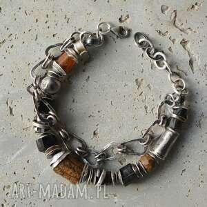 srebrna bransoletka szerlit czarny turmalin,surowy bursztyn, rubelit