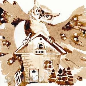 sówka strażniczka - obraz kawą malowany - coffeepainting