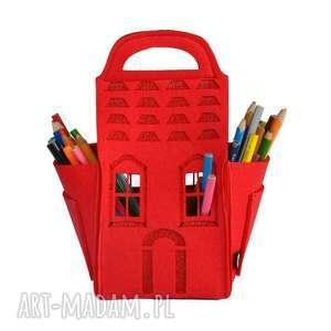 Domek na kredki - czerwony, pojemnik, domek, organizer