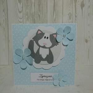 zaproszenie kartka kotek w kwiatach - sesja, urodziny, chrzest, roczek, zaproszenie