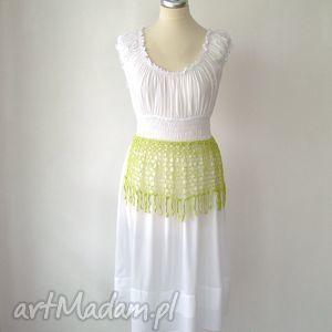 handmade paski ażurowy letni pas zielony