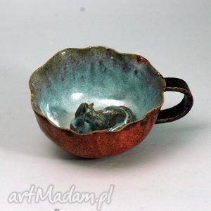 ceramiczna duża filiżanka kubek z figurką konia walentyki, dzień babci