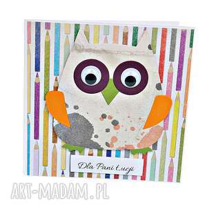 kartka dla nauczyciela - kolorowe kredki - kartka, sowa, dla-nauczyciela