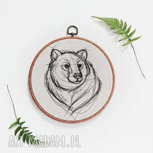 niedźwiedź - ,obrazek,haft,ramka,las,góry,niedźwiedź,