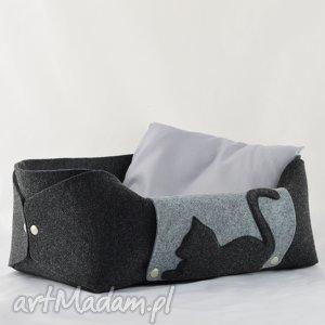 hand made zwierzaki legowisko dla kota, posłanie z filcu poduszką