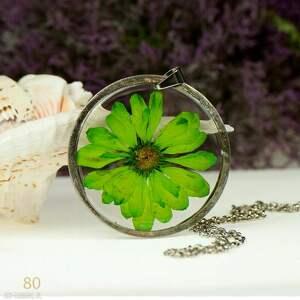 naszyjnik z soczysto zieloną margerytką z80, kwiatem, biżuteria