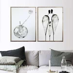 zamówienie - 2 grafiki 40x60cm wykonane ręcznie, abstrakcja, elegancki
