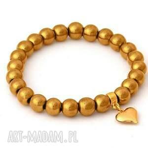 Golden hematite with heart pendant. - ,hematyt,serce,