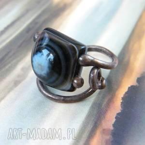 regulowany pierścionek z agatem, pierścień, pierścień kamieni, agat