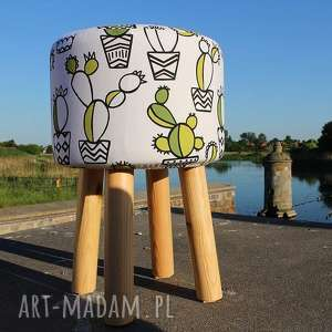 Pufa Kaktus - 45 cm, puf, taboret, hocker, vintage, siedzisko, stołek