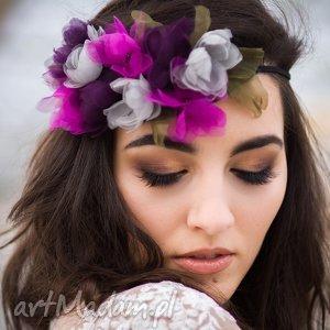 tajemniczy ogród, kwiaty, jedwab, fascynator, opaska, fascynator do włosów