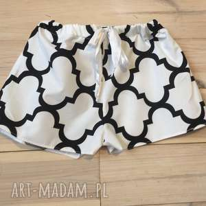 piżama, spodenki biało czarna koniczyna marokańska, walentynki, bielizna, szorty