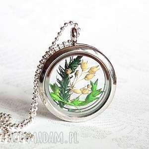 Prezent roślinne terrarium - niezwykły medalion, prawdziwe, suszki, unikat, natura