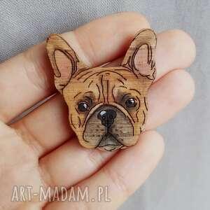 buldog francuski (drewno naturalne, brelok, pies, drewno dębowe, ręcznie malowane)