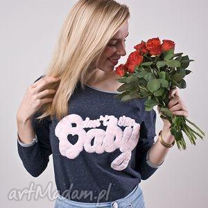 dżinsowa młodzieżowa bluzka bluza z napisem haft bawełna baby na wiosne