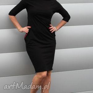 SUKIENKA OŁÓWKOWA DRESOWA KOLORY, sukienka, ołówkowa, czarna, kieszenie, dresówka