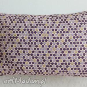 Poduszka w grochy beżowo-fioletowe, groszki,