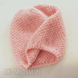 czapka moherkowa różowa, beret, dziergana, wełniana, moher, na drutach