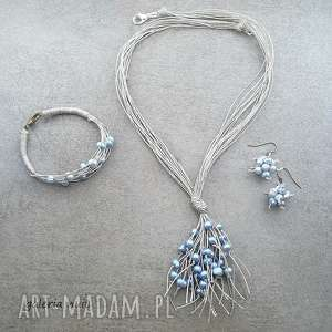 jasnoniebieskie perły - komplet lnianej biżuterii, perły, perełki, naturalne