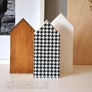 3 domki z pepitką dekoracje wooden love domek, pepitka, domki