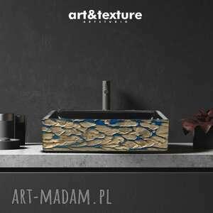 art and texture - bijoux - artystyczna umywalka nablatowa ze złotą strukturą, nowoczesna