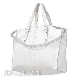plenty more 43-0025 biała torebka skórzana z paskiem i kontrastowymi